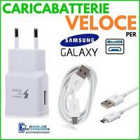 CARICABATTERIE VELOCE FAST per SAMSUNG GALAXY A7 2018 PRESA + CAVO MICRO USB