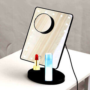22 LED Light Illuminated Make Up Cosmetic Mirror with Small Magnification Black