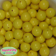20mm Yellow Solid Acrylic Bubblegum Beads Lot 20 pc Chunky Gumball