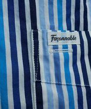 FACONNABLE Mens 4XL Blue White Sailing  Stripe Spread Collar Shirt Long Sleeve