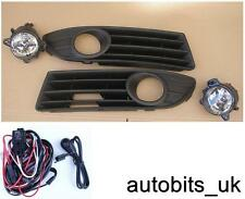 FRONT FOG LIGHTS GRILLE GRILLS LAMPS FOR VW POLO 9N3 MK5 2006-2009 + WIRING KIT