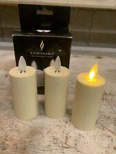Luminara Real Flame Effect Candle Set Of Three Ivory Votives New
