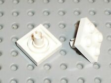 2 x LEGO White Plate with Pin ref 2476a /Set 10196 7752 6397 7675 7993 7676 3831