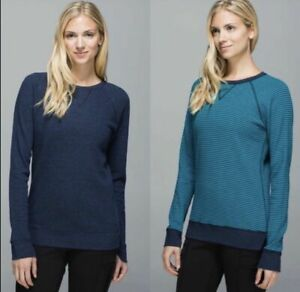 Lululemon Reversible Blue Stripe Long Sleeve Sweater Pullover Top Size 4 Shirt