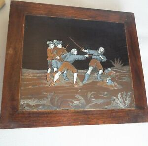 Antique Brass Engraved PICTURE GERMAN highlighted with colour Rosewood frame