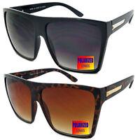 Mens Womens Flat Top Oversize Retro Square POLARIZED Sunglasses Funky Big Lens