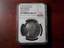 1926 Albania 5 Franga Ari silver coin NGC UNC
