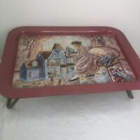 Vintage Metal TV Tray Lap Pink Victorian Dollhouse Girl