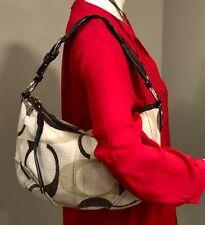 COACH Carly Canvas Bag 12190 Signature Brown & Khaki Hobo Shoulder Bag