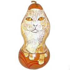 Buddy the Cat Folk Art Carved Gourd Hand Painted Artist Signed Margie Lopez Read