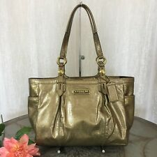Coach Gallery East/West Coated Patent Leather Gold Tote Shoulder Purse F15253