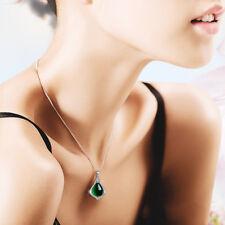 Collana Donna Silver Argento 925 Elegante Zircone Pietra verde A246