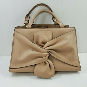 Sole Society Satchel Taupe light Tan Faux Leather Man Made Bow Detail