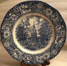 Staffordshire Liberty Blue Independance Hall Ironstone Dinner Plate ~ England