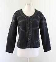 Malvin Hamburg Germany Black Quilted Sequin Beaded Jacket Blazer Size US 10