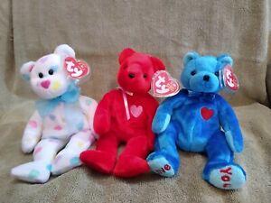 LOT OF 3 TY BEANIE BABY BEARS - KISSME, KISS-e & DAD-e - MINT & RETIRED
