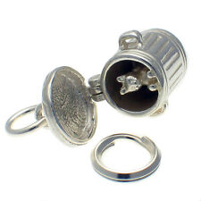 Sterling 925 Silver Charm Cat In Dustbin Trash Can Lid Opens, by Welded Bliss