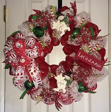 CANDY CANE PEPPERMINT SNOWMAN LET IT SNOW CHRISTMAS  WREATH FREE SHIPPING!!