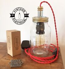 KILNER MASON JAR DESK LIGHT TABLE LAMP RED TWIST CABLE MADE BY AN ELECTRICIAN