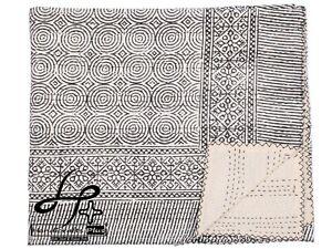 Cotton Kantha Quilt Black Hand Block Gudari Indian Coverlet King Size Bedspread