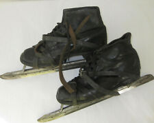 Pair Antique Speed Skating Boots, black leather