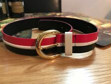 Jaeger red white black leather belt unisex