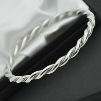 Vintage Solid 925 Sterling Silver Twist / Rope Design Bangle Bracelet