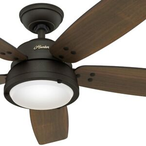 """52"""" Hunter Contemporary Ceiling Fan with LED Light and Remote in Noble Bronze"""