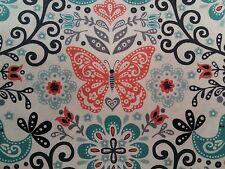 Makower Papillon Allover Turquoise 100% cotton fabric, half metre, free p&p,