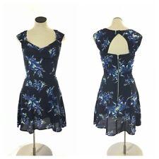 New Asos Womens Short Skater Dress Size 0 S Blue Floral Print Sleeveless Summer