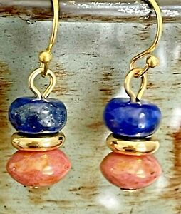 Gold, Lapis and Dusty Pink Bead Dangle  Earrings. Boho Chic.