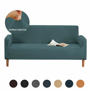 1/2/3/4 Seater Elastic Sofa Covers Slipcover Plain Stretch Settee Protector
