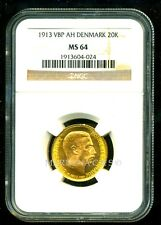 DENMARK 1913 VBP AH GOLD COIN 20 KRONER * NGC CERTIFIED GENUINE MS 64 * AMAZING