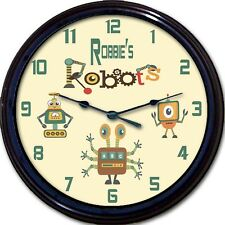 Robot Robots Gears Personalized Wall Clock Android Child Nursery Custom New 10""