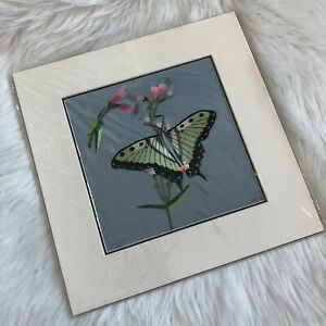 King's Silk Embroidery, Inc. Handmade Silk Embroidery Green Butterfly Wall Art