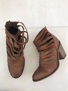 Free People Hybrid Women Sz 39/9 Strappy Booties Boots Brown Leather Back Zip
