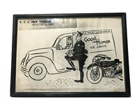 Vintage Good Humor Ice Cream Truck Photo NYC August 6 1938 Framed Art 10.5X7.5