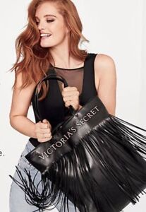 NEW VICTORIA SECRET LIMITED EDITION FAUX LEATHER FLIRTY FRINGE TOTE BAG NWT