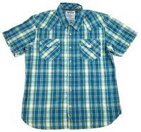 Levis Short Sleeve Pearl Snap Plaid Western Shirt Men's Size Large L Multi Color