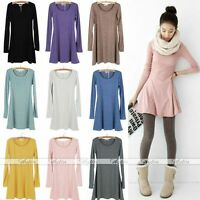 Korean Girls Style Women Solid Plain Soft Long Sleeve Mini Dress Skirts Hot-FS