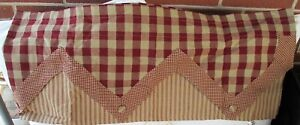 PARK DESIGNS BURGUNDY & BEIGE PLAID & STRIPED LINED VALANCE WiTH BUTTONS 72 X 15