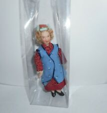 """Porcelain Miniature 5 1/2 """" Lady Doll With Curler's In Hair Dollhouse Size 1:12"""