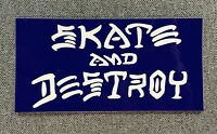 Skate And Destroy Skateboard Sticker 4in Thrasher white/blue si
