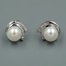 10 mm White Pearl CZ Sterling Silver Ribbon Stud Earrings Cultured Freshwater 07