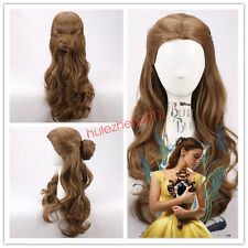 2017 MOVIE Beauty and the Beast Princess Belle long wavy brown Wig Cosplay Wigs