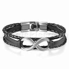 Classical Love Infinity Symbol Multilayer Leather Men Women Bracelet Bangle Cuff