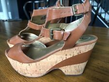 Guess Gertie Women's Brown Leather Sandals Wedges Platform Shoes Size 7