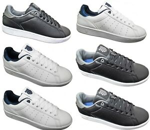 New Mens K-SWISS Leather Trainers Retro Court Shoes White Black Sale Size 7-12