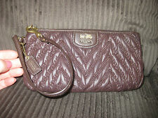 COACH QUILTED CHEVRON MADISON WALLET WRISTLET CLUTCH 70TH ANNIVERSARY BROWN