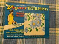 Vogart Textilprints Transfer Patterns -Blue Daisy 1960s or 70s Fabric Art Sewing